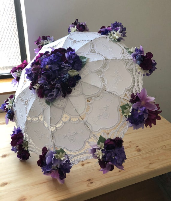 Femmes en dentelle Vintage Floral Parapluie Ombrelle de mariage mariée marié Photo Props