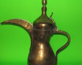 Fine Old Arabian Brass Dallah Coffee Pot - Large 16 quot Tall - Nice Condition