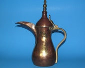 Fine Old Arabian Hammered Copper Brass Dallah Coffee Tea Pot 12 quot - Beautiful