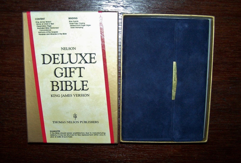 Vintage Deluxe King James Version Gift Bible 1970 Cover is Blue Suede