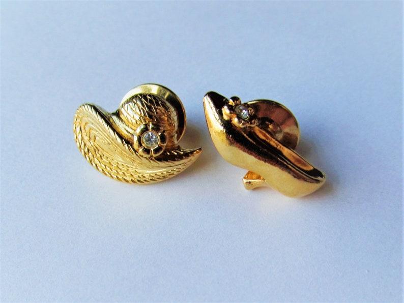 Vintage Shoe /& Bonnet Gold Tone Avon Lapel Pin Set