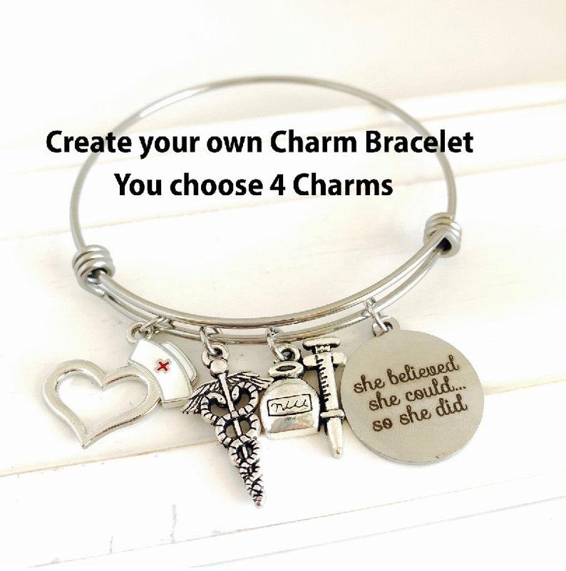 9d6b43db7 Custom Charm Bracelet You Create Charm Bracelets | Etsy