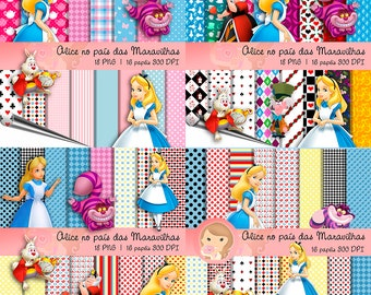 Kit Digital Scrapbook ALICE WONDERLAND COMPLETE (1-4)