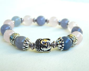 Pink Buddha bracelet women stone aquamarine and quartz
