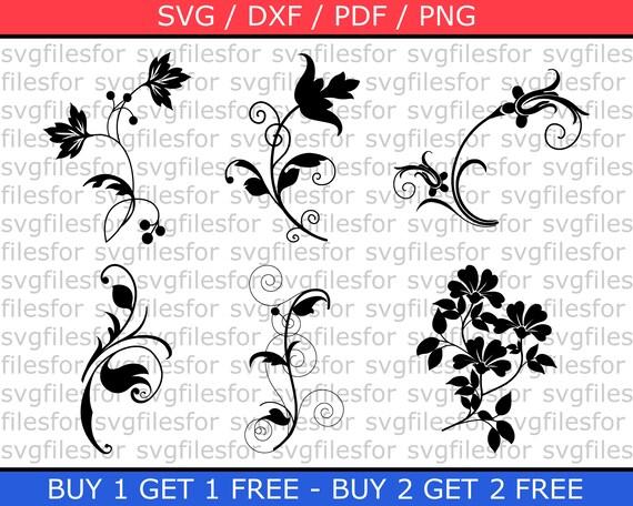 Flourish Svg Bundle Clipart Dxf Design Floral Flowers Decal Etsy