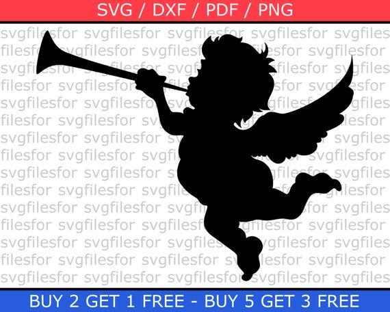 Engel Weihnachten Svg Datei Amor Mit Trompete Clipart Free Cut Etsy