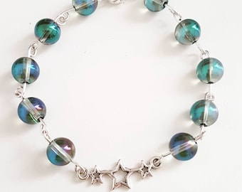 Crystal aqua bracelet will be blue with green highlights