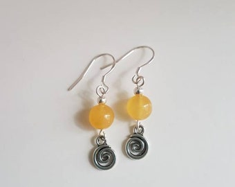 Earrings in silver and Citrine and spiral bead