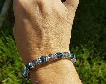 Light blue and dark blue aqua aura Crystal bracelet
