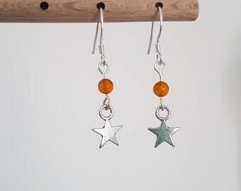 Amber Silver Star earrings