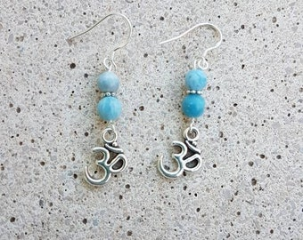 Earrings with sterling silver bail and larimar 6mm OM