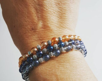 3 aqua beaded bracelet will be light blue and dark blue gold