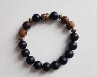 Tiger eye and black onyx Buddha bracelet