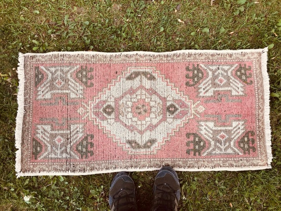 1'6x3'1 Small Rug, Turkish Rug, Small doormat, Vintage carpet, Area rug, wedding gift, new home gift, bath rug, turkish Carpet, small carpet