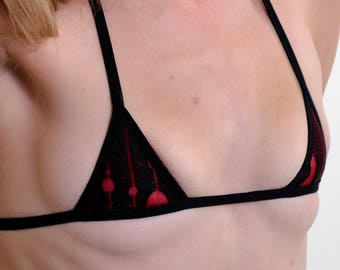 Red Ripped Micro-mini Bikini Top w/ Black trim