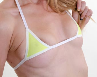 Neon Yellow Micro-mini Bikini Top w/ White trim