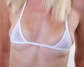 White Sheer See Thru Micro-Mini Bikini Top w/ White Trim
