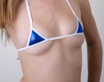 Blue Metallic Micro-mini Bikini Top w/ White trim