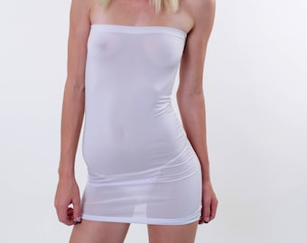 White Sheer See Thru Mini Tube Dress