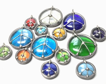 5 Pack of Beautiful Handmade Glass Peace Sign Emblems
