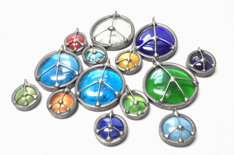 5 Pack of Beautiful Handmade Glass Peace Sign Emblems image 0