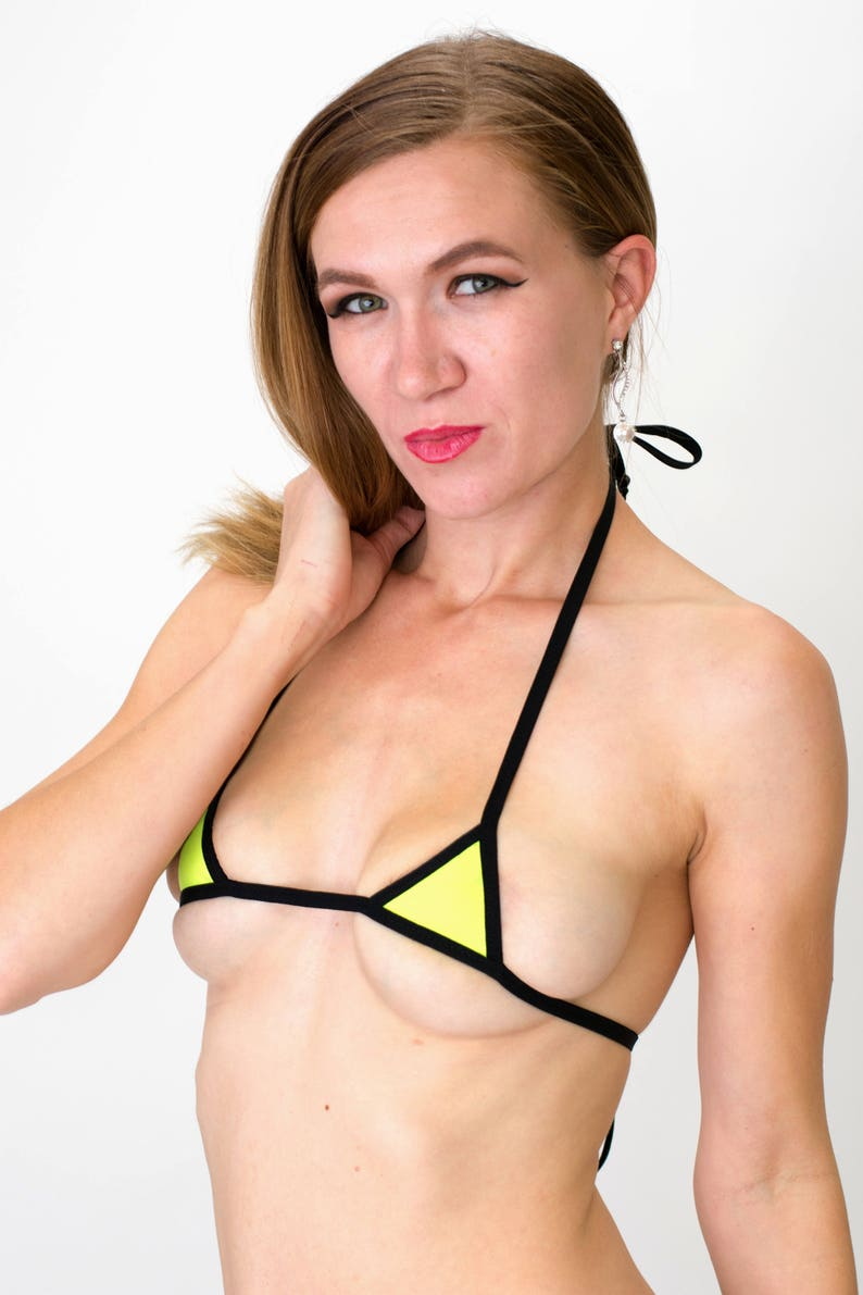 576fb42d3a9 Neon Yellow Micro-mini Bikini Top w/ Black trim | Etsy