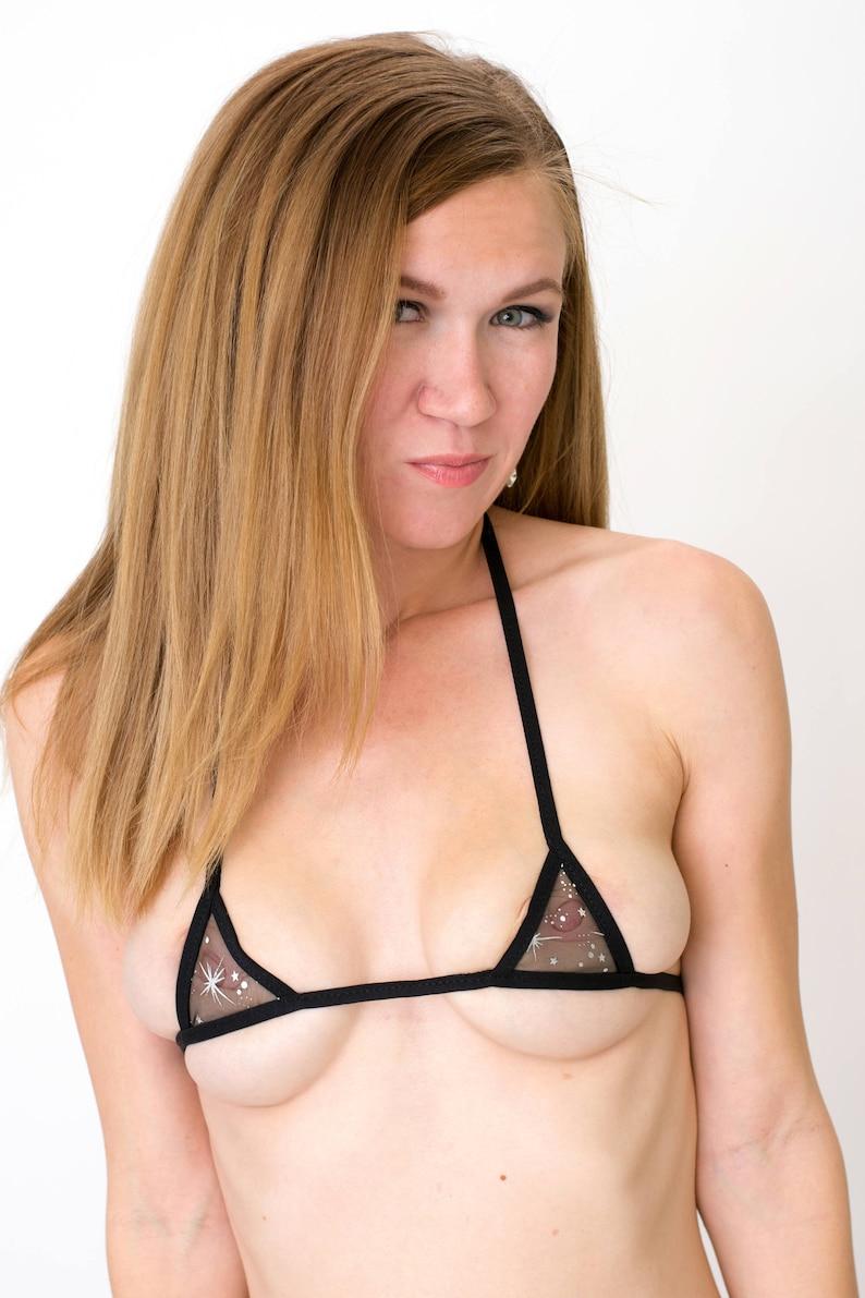 2cf171141 Ultra Sheer Black Shimmer w  Stars Micro-mini Bikini Top w