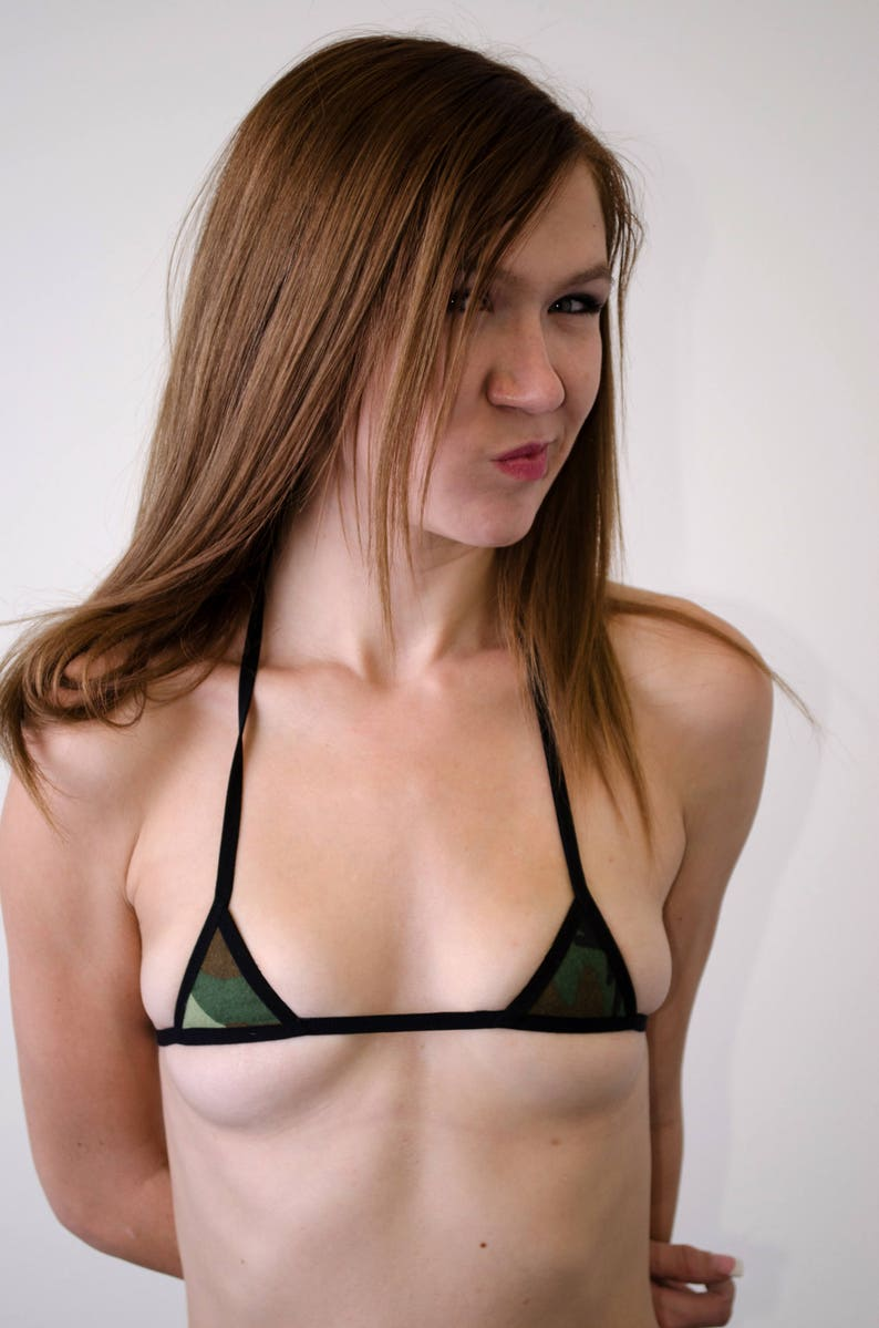 9b8364d8913 Camo Micro-Mini Bikini Top w/ Black Trim | Etsy