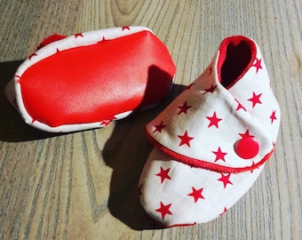baby booties red and white theme starry (size 3/6/12-18 months)