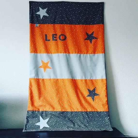 couverture bebe dimension 70x120 cm theme gris orange et bleu   Etsy