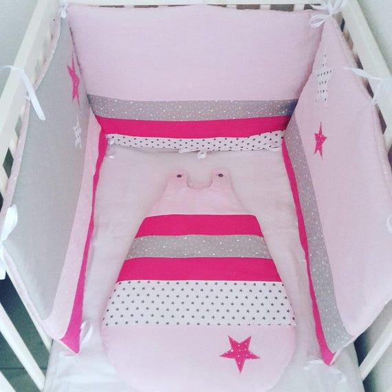 ensemble tour de lit b b 3 pans et gigoteuse assortie gris etsy. Black Bedroom Furniture Sets. Home Design Ideas
