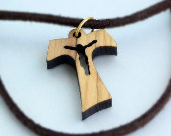 Wooden tau cross crucifix necklace pendant for men Holy Land olive wood St. Anthony Christian cross for boys necklace Israel gifts WP0006crs