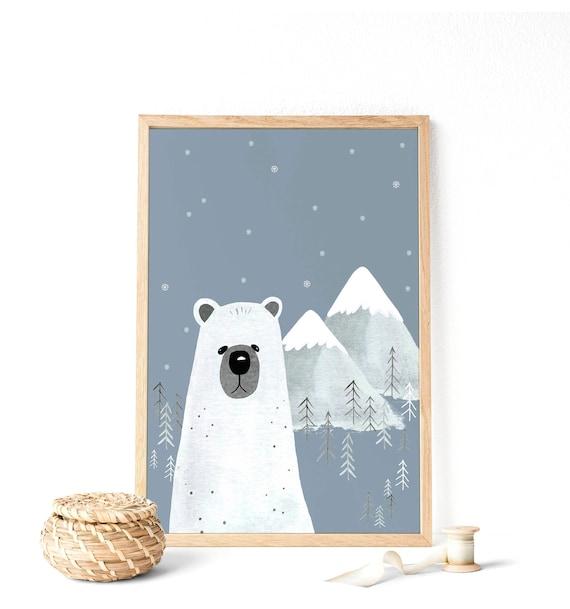 Oso polar: Ilustración para niños decoración de pared bebés | Etsy