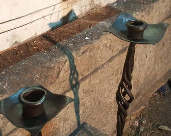 Hand Forged candlestick, basket twist