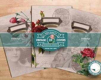 Printable Covers for The Flower Ladies Journaling Kit - Junk Journaling Digital Download - Printable Journal Ephemera