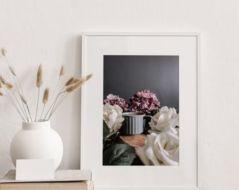 Coffee and Flowers Print | Vintage Flower Photography | Flower Wall Art | Photography Prints