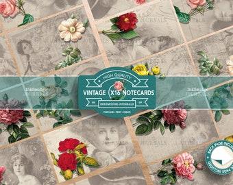 Notecards - The Flower Ladies - Junk Journaling Digital Download - Printable Journal Ephemera