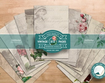 Journal Pages - The Flower Ladies - Junk Journaling Digital Download - Printable Journal Ephemera