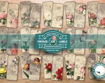 Labels - The Flower Ladies - Junk Journaling Digital Download - Printable Journal Ephemera