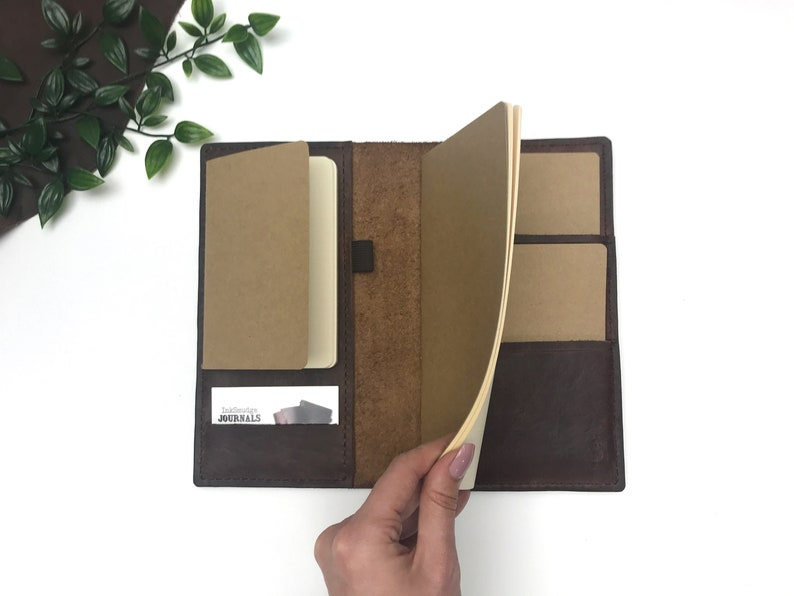 Refillable Leather Journal in Brown  Standard or A5 AND image 0