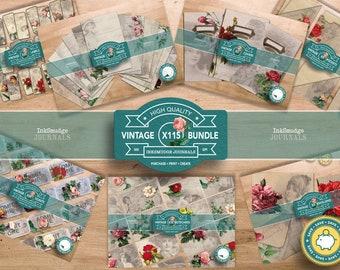 MEGA BUNDLE - The Flower Ladies - Full Journal Kit  - Junk Journaling Digital Download - Printable Journal Ephemera