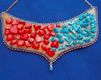 Necklace ice and fire glass beads and gems