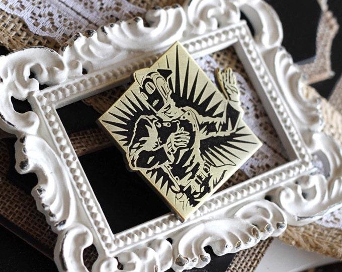 Featured listing image: Golden Age Rocketman Hard Enamel Pin