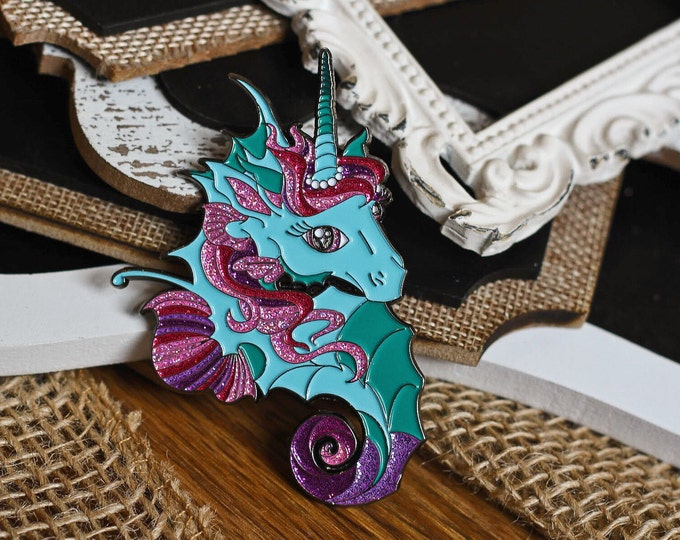 Featured listing image: Unicorn of the Sea Hard & Soft Enamel Pin