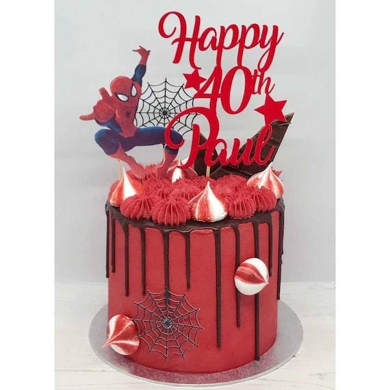 Personalized Spider Man inspired cake topper Glitter cardstock