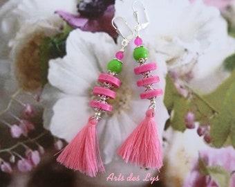 MY spring TASSELS - long earrings Bohemian romantic - Howlite, glass, cotton tassels