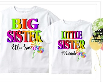 Rainbow Candy Lollipop Big Sister, Little Cousin, Any Sibling,  Shirt, Personalized Shirt, Toddler Youth Adult  (mc596)
