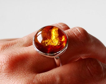 6f6b24cd6 Beautiful Amber Ring, Cognac Amber Ring, Amber And Sterling Silver  Adjustable Ring, Baltic Amber Jewelry, Amber Gift For Women, Gemstone