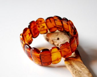 Natural BALTIC AMBER BRACELET Round Beads Marble Unpolished Elastic Gift Jewelry 20g 11611