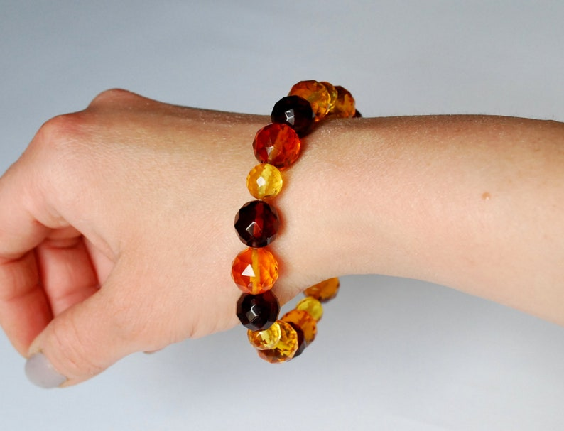 Faceted amber beads Natural amber beaded bracelet Multicolor faceted Baltic amber bracelet Amber bangle Amber jewelry Amber bracelet